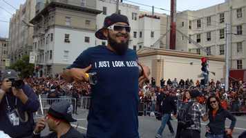 Sergio Romo celebrates during Wednesday's parade in San Francisco.