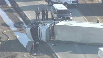 California Highway Patrol officers are at the scene of a crash involving a big rig that's blocking northbound traffic on Interstate 5 just south of Elk Grove.