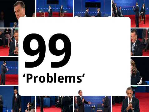 "With less than a day to go, Jay-Z, rapper and producer, preformed his hit ""99 Problems,"" changing a key word in the lyrics that rhymes with ""witch"" to make his own political endorsement. ""I got 99 problems but Mitt ain't one,"" he rapped."