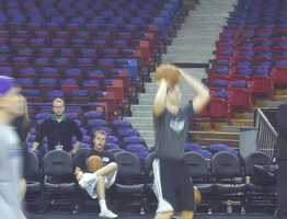 Sacramento Kings players warm up before their home opener versus the Golden State Warriors on Monday. (November 5, 2012)