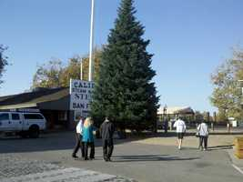 A day after crews set up the Christmas Tree at the State Capitol, old Sacramento did the same Thursday. (Nov. 8, 2012)
