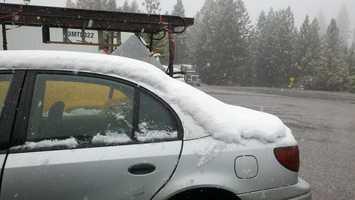 Snow falls at Dutch Flat on Friday.