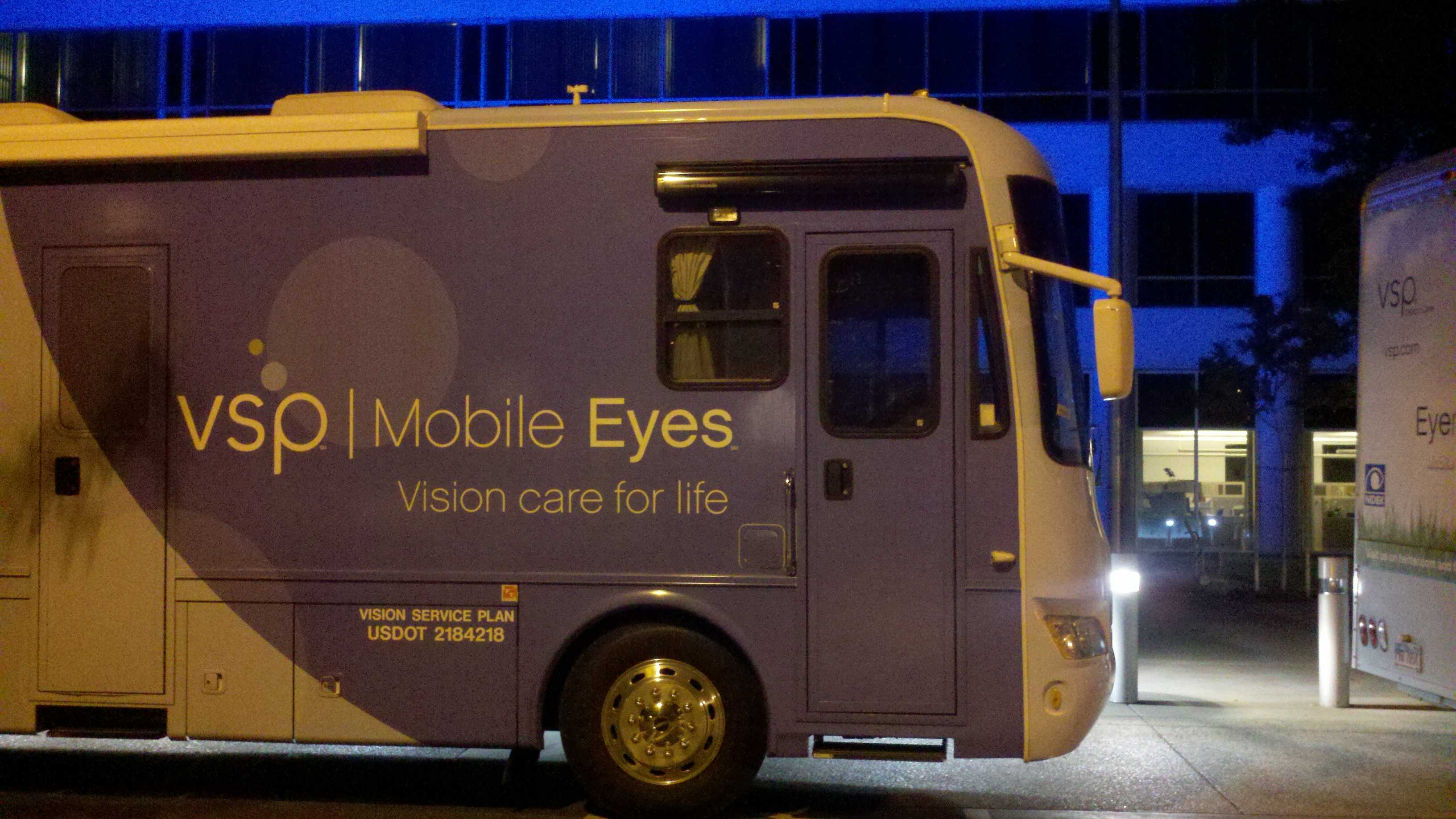 One of two 40-foot mobile eye care clinics departs Rancho Cordova headed for the New York area.