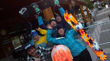 "The first group of ""crazies"" prepares to ski at Heavenly on Wednesday morning (Nov. 14, 2012)."