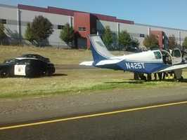 The pilot told KCRA that he had engine trouble and was forced to land.
