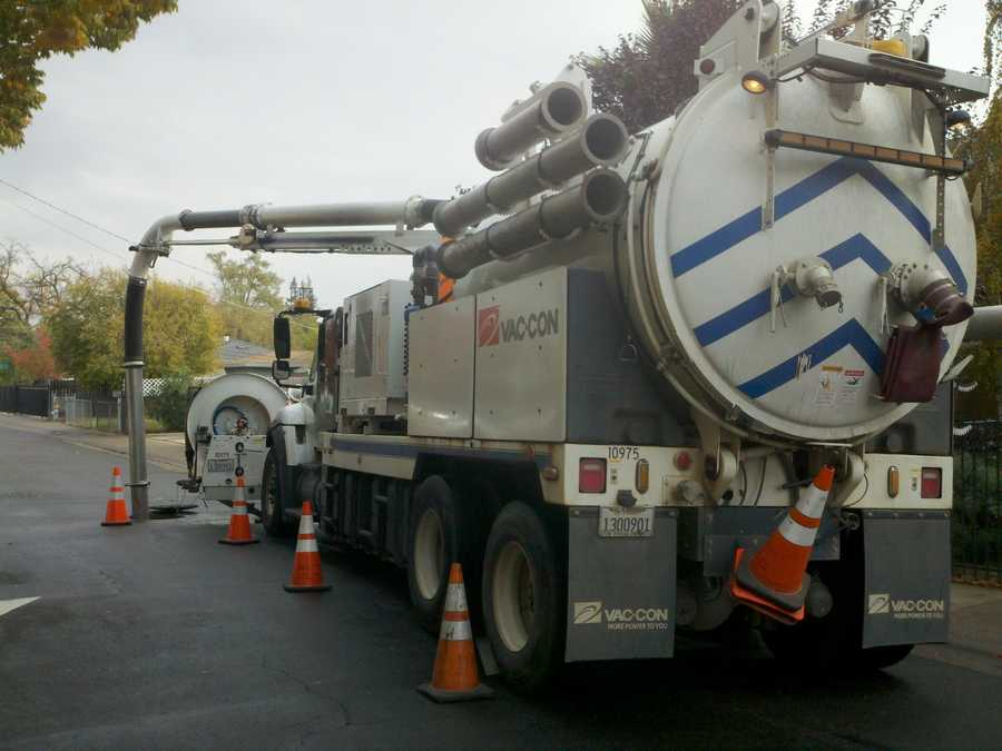 A Sacramento City sewer vacuum truck makes the rounds Friday.