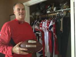 Rick Kaepernick, at his Modesto home, holds the football his son used for a touchdown run earlier this season for the 49ers. The team does not have its starting quarterback for Monday's game against the Chicago Bears.
