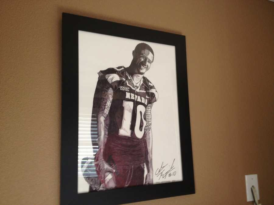 Colin Kaepernick's uncle drew this picture of Colin. It hangs in Kaepernick's parents' home.