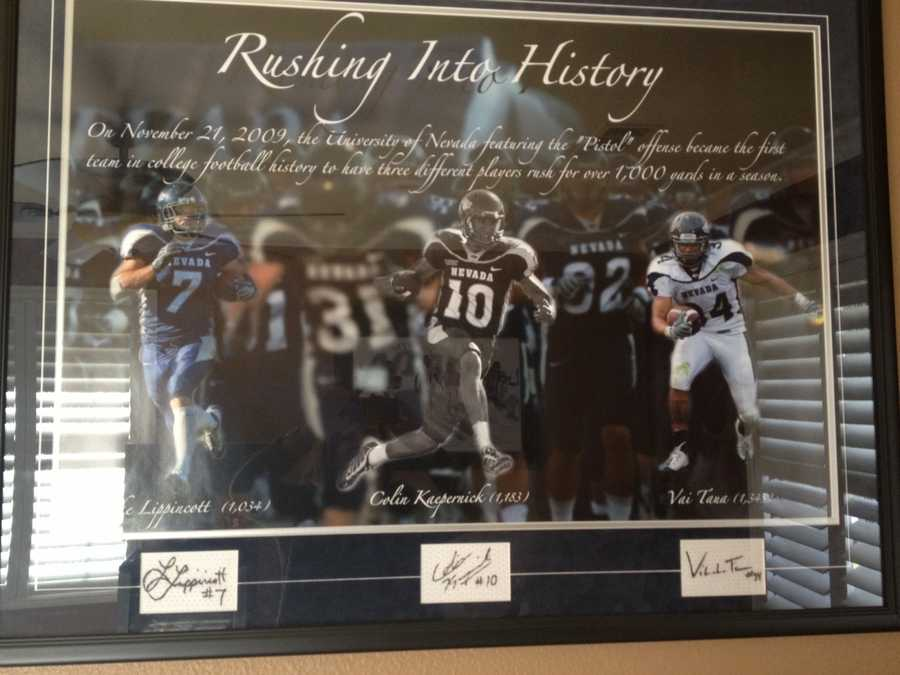 Colin Kaepernick, when he played for the University of Nevada, Reno. This photo hangs in his parents' Modesto home.