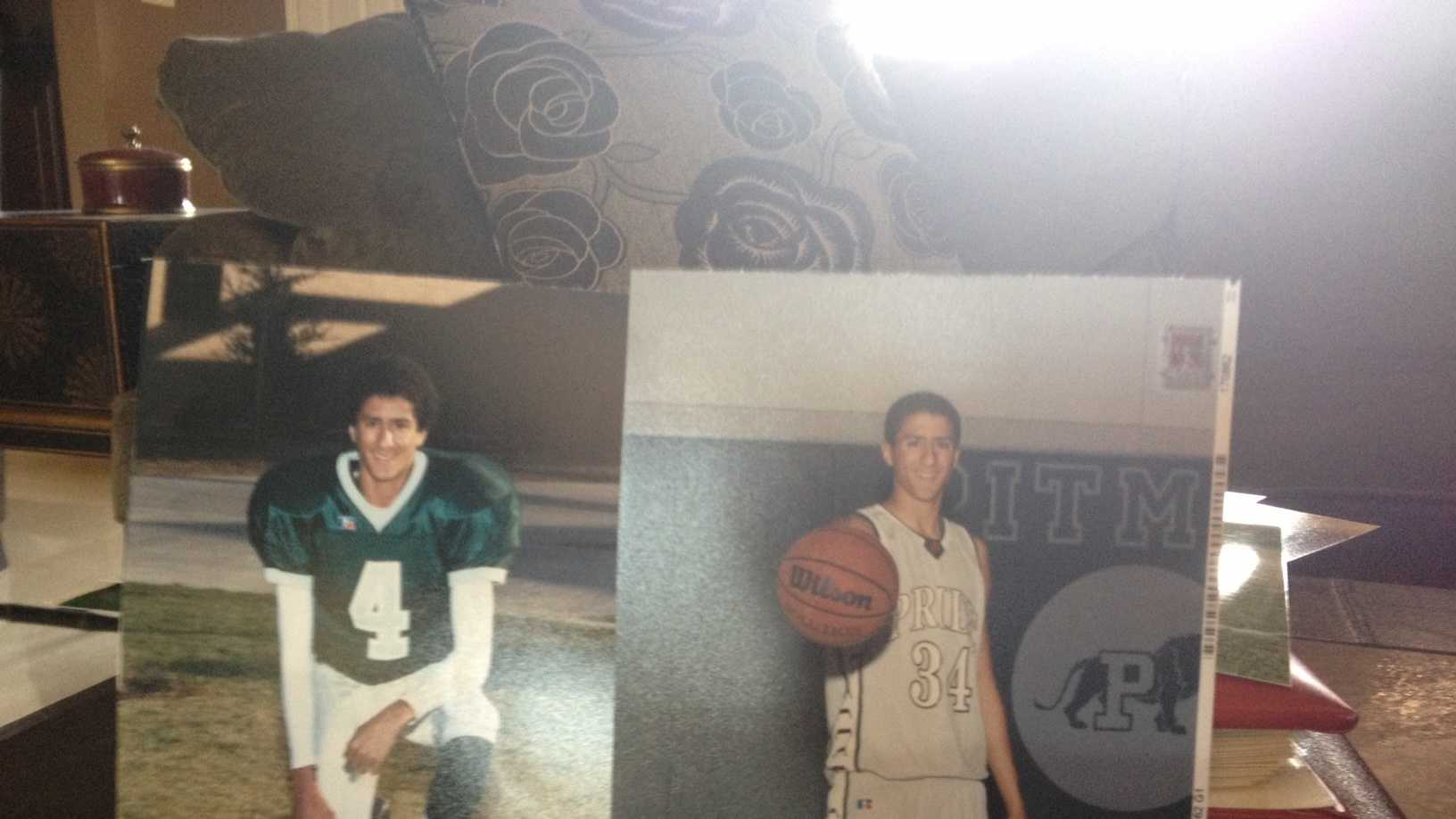 Colin Kaepernick, pictured when he played football and basketball for Pitman High School in Turlock in photos provided by his father.