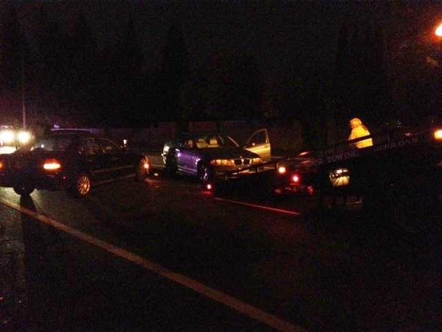 A woman suffered severe leg injuries when she was hit by a vehicle in the Natomas area Monday.