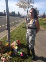 Diane Hill, whose son was struck and killed by a truck in Elk Grove, is back at the scene to mourn her loss. She says while she was there the previous day, someone broke into the vehicle she'd been riding in and stole her mobile phone, which contains the last photos she took of her son.