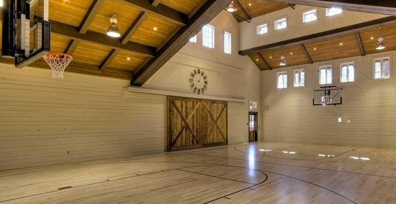 The family barn also has this basketball court.