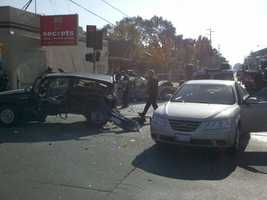 The Stockton Police Department said that one of the vehicles overturned and another caught fire in the crash.