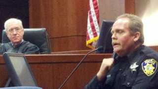 An officer takes the stand Tuesday to testify in the case involving a fallen Vallejo police officer.