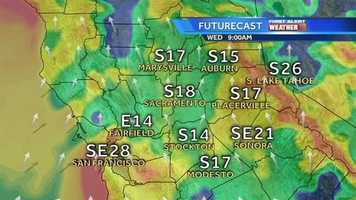 A wave of three storms, packing rain and wind, is making its way into Northern California. Get an hour-by-hour look at how windy the region might become during the series of storms. *** FutureCast rendered Tuesday evening and is subject to change.