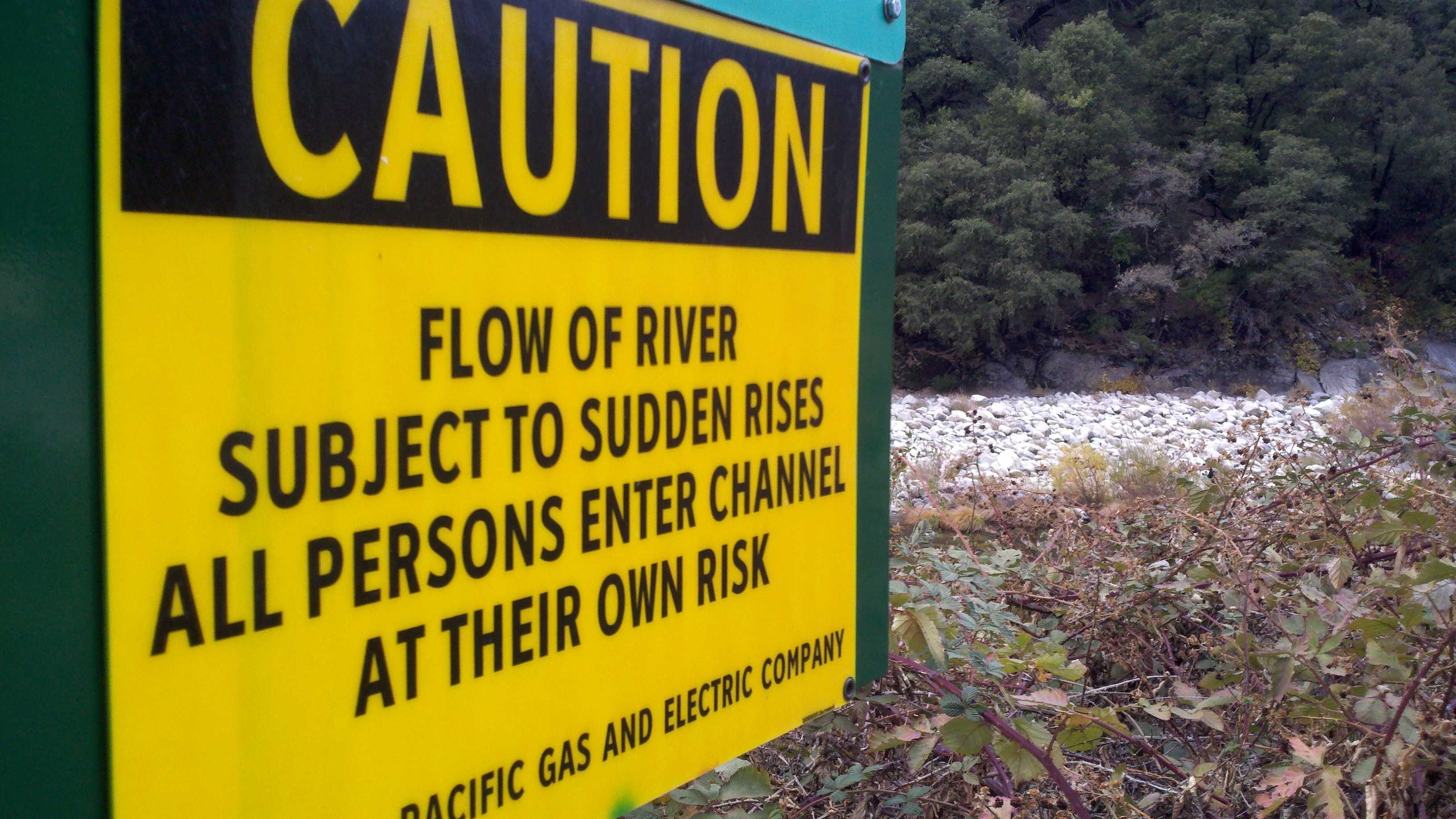 Feather River warning sign