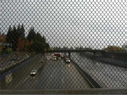 WednesdayA jackknifed big rig that hit the center divide on Interstate 5 causes traffic to backup through downtown Sacramento.