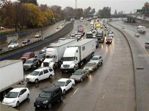 WednesdayMotorists deal with gridlock on Interstate 5 heading northbound near J Street.