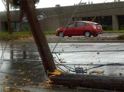 WednesdayA power pole is smashed into two.