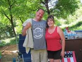 Marcum is pictured with his wife.Marcum had two children and two stepchildren.