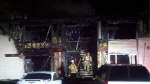 Fire officials said four units were caught in the fire.