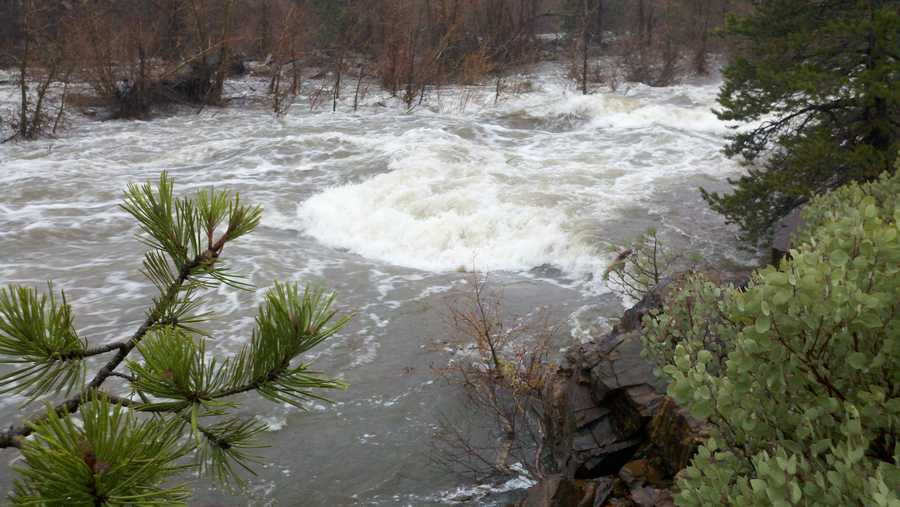 FridayRunoff into the Yuba River near Cisco Grove causes fast currents.