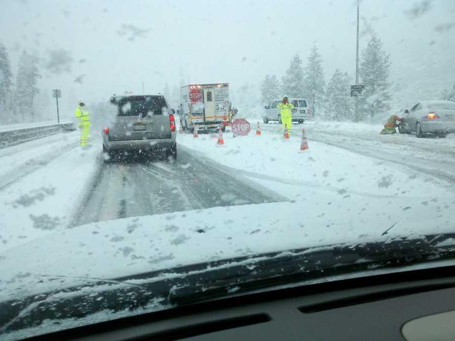 SundayRoads were snowy Sunday afternoon in Truckee (Dec. 2, 2012).