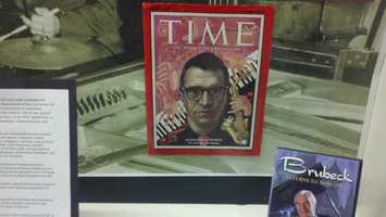 A copy of Time magazine is on display at the institute. Brubeck was the first modern jazz musician to be pictured on the cover of the magazine on Nov. 8, 1954.