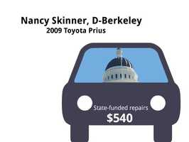 Nancy Skinner, D-Berkeley2009 Toyota PriusState's purchase price: $28,507State's sale price: $10,000$540 for two new tires, and to change oil and filters