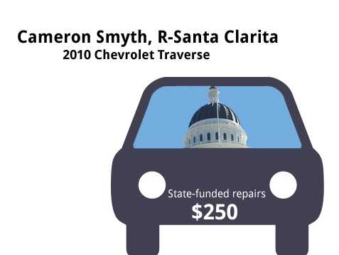 Cameron Smyth, R-Santa Clarita2010 Chevrolet TraverseState's purchase price: $36,052State's sale price: $16,225$250 for a multi-point inspection, smog check