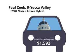 Paul Cook, R-Yucca Valley2007 Nissan Altima HybridState's purchase price: $34,479State's sale price: $7,000$1,592 for four new tires&#x3B; repair exhaust leak