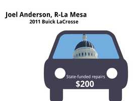Joel Anderson, R-La Mesa2011 Buick LaCrosseState's purchase price: $38,688State's sale price: $26,000$200 for oil and filter changes