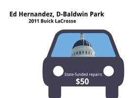Ed Hernandez, D-Baldwin Park2011 Buick LaCrosseState's purchase price: $38,371State's sale price: $26,000$50 for an oil change