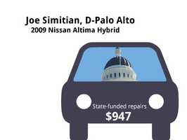 Joe Simitian, D-Palo Alto2009 Nissan Altima HybridState's purchase price: $34,287State's sale price: $12,000$947 for four new tires, a flat repair, brake inspection