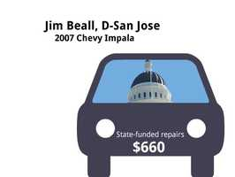 Jim Beall, D-San Jose2007 Chevy ImpalaState's purchase price: $31,729State's sale price: $6,025$660 for windshield repaired and replaced&#x3B; smog inspection