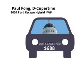 Paul Fong, D-Cupertino2009 Ford Escape Hybrid 4WDState's purchase price: $35,376State's sale price: $10,525$688 for two new tires