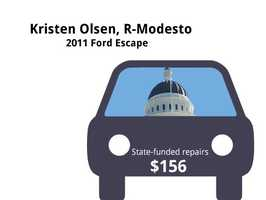 Kristen Olsen, R-Modesto2011 Ford EscapeState's purchase price: $32,499State's sale price: $17,500$156 for oil and filter changes