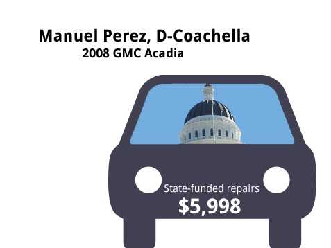 Manuel Perez, D-Coachella2008 GMC AcadiaState's purchase price: $32,500State's sale price: $11,125$5,998 for four new tires, and to replace the air conditioner, water pump, rear shocks&#x3B; reseal engine