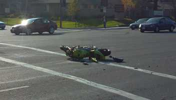 A hit-and-run crash snarled traffic and injured a motorcyclist in Citrus Heights on Monday afternoon (Dec. 10, 2012).