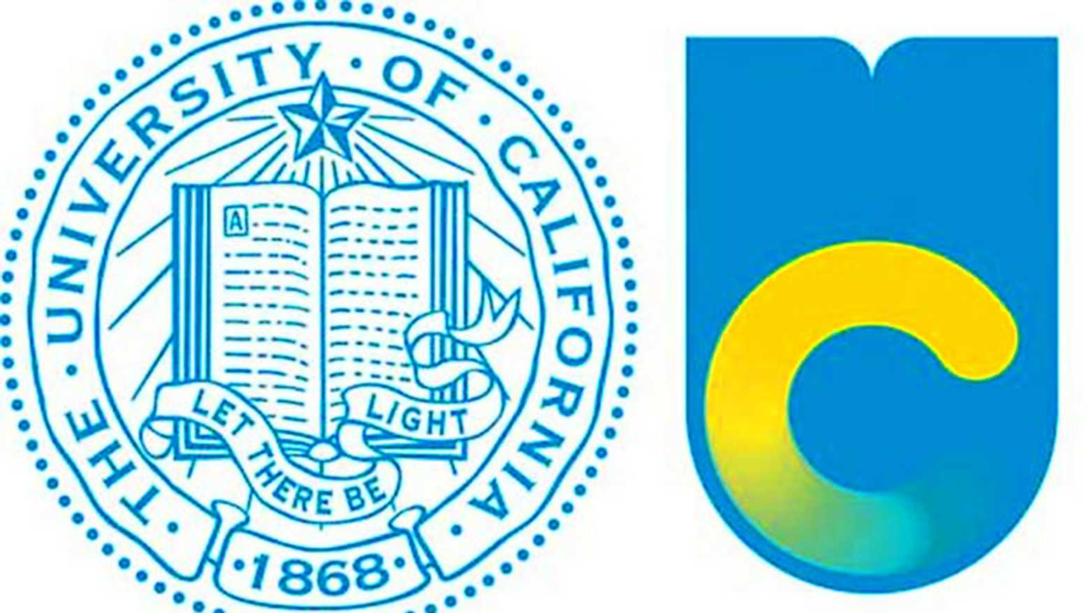 The UC's old logo is on the left and new logo on the right.