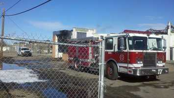 Crews are still attending the building Tuesday morning.
