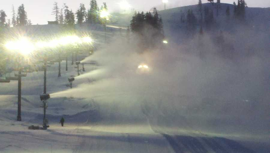 Workers made snow at Boreal on Wednesday morning (Dec. 19, 2012).