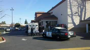 The driver of an armored car in Stockton was pepper-sprayed during a robbery.