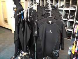 Lavacore suits and tops are base layers for wet suits, and also popular among water aerobics participants. Short-sleeve tops start at $99.95.