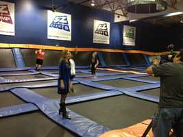 Deirdre Fitzpatrick looking very overdressed at Sky Zone.