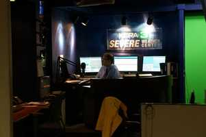 KCRA First Alert Meteorologist Mark Finan prepares his forecast in the KCRA 3 Severe Weather Center.