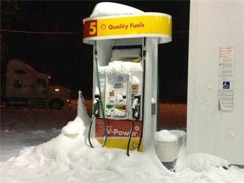 Check out this snow-covered gas pump at the Nayack Shell.