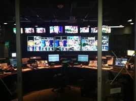 Dr. Oz takes up many monitors inside the KCRA 3 tech center.