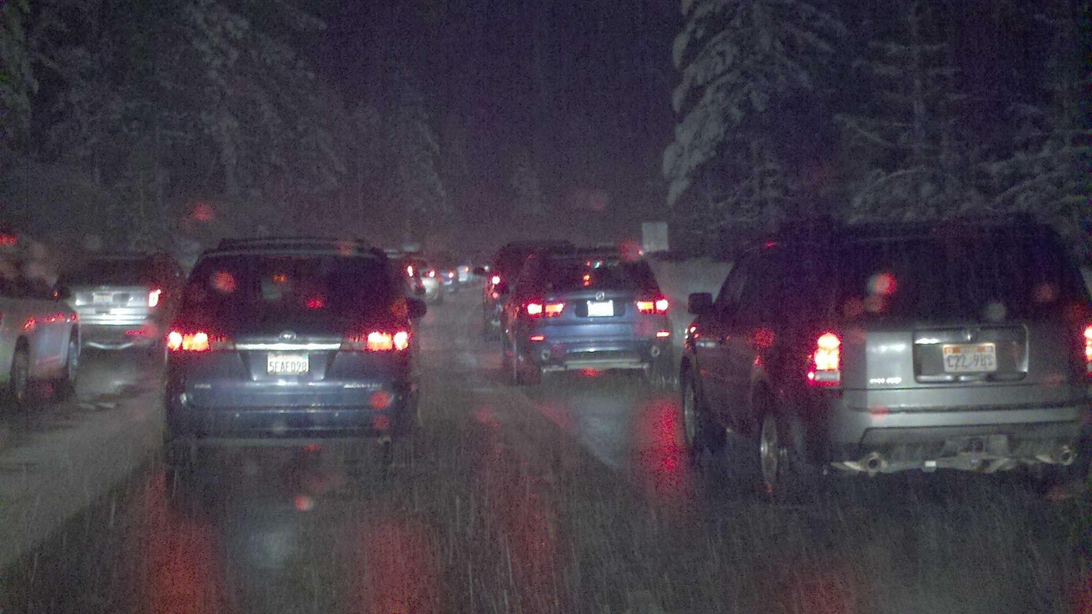 Drivers wait Wednesday evening in a traffic backup on eastbound Interstate 80 near Yuba Gap.